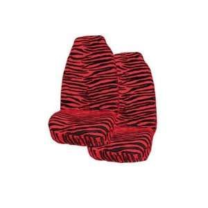 2 Animal Print Front Seat Covers   Zebra Red Automotive