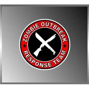 Zombie Outbreak Response Team Shotgun and Machete Vinyl Decal Bumper