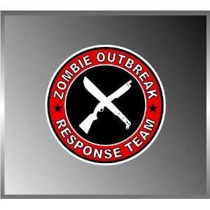 Zombie Outbreak Response Team Shotgun and Machete Vinyl Decal Bumper