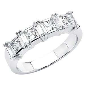 14K White Gold Princess cut CZ Cubic Zirconia Ladies Wedding Band Ring