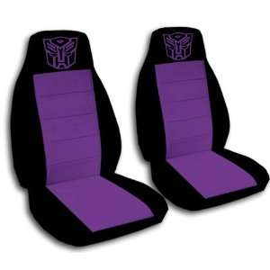 2 Black and Purple Robot car seat covers for a 2001