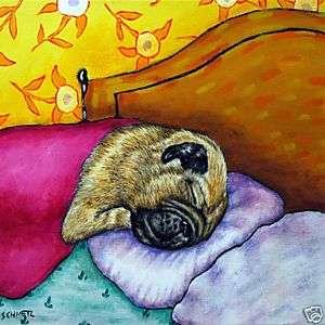PUG Sleeping picture ceramic DOG pet art tile gift