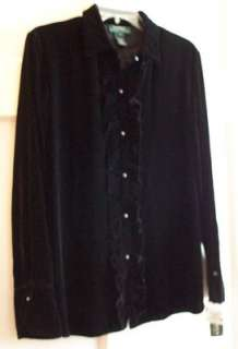 Ralph Lauren Black Velvet Ruffled Blouse Shirt Jackson Hole New Large