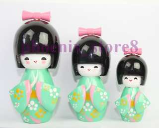 LIKABLE SET GREEN HANDMADE JAPANESE WOODEN DOLLS #0462