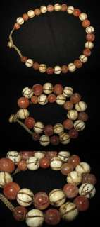 Old Nepal Tibet Melon Conch Carnelian Bead Necklace