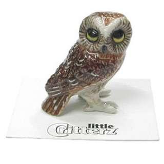 Little Critterz Sawyer Saw whet Owl Bird Miniature Figurine Wee Animal