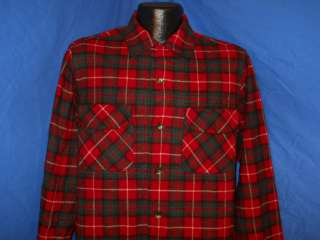 50s PENDLETON LOOP COLLAR WOOL RED PLAID MENS BUTTON DOWN SHIRT MED M