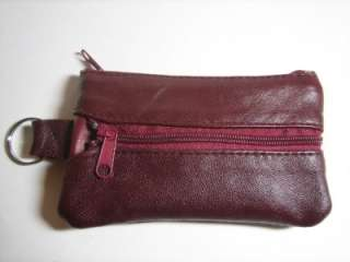 BURGUNDY High Quality Leather Money Coin Purse Zippered Wallet With