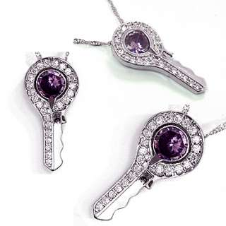 FASHION LADY JEWELRY KEY CHAIN PURPLE AMETHYST WHITE GOLD P PENDANT