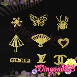Mixed Design Nail Art Decoration Acrylic Tips Metal Slice Sticker