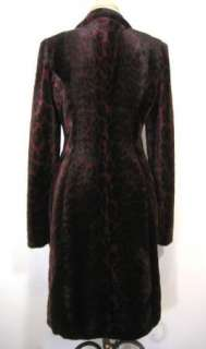 BETSEY JOHNSON Rare Vintage Leopard Faux Fur Fitted Long Jacket Coat