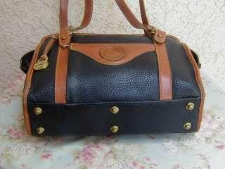 Navy Blue Leather Vtg. DOONEY & BOURKE Satchel Tote Bag~Purse