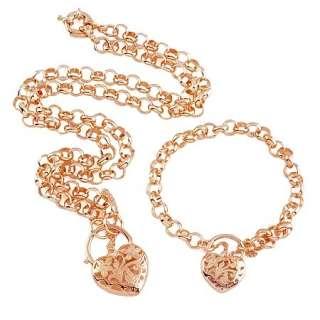 9K rose Gold GF euro heart padlock necklace/bracelet