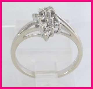 14k White Gold Round Diamond Cluster Cocktail Fashion Ring .23
