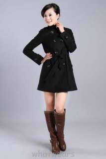 Womens D Trench Stand Collar Wool Coat Jacket Grey A11