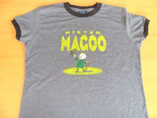 Mr Magoo Cartoon TV Show Retro Gray Tee Shirt Vintage Style Size Jr