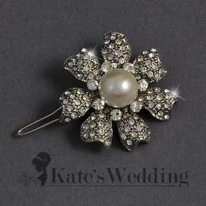 Wedding Flower Barrette Rhinestone Crystal and Pearl Bridal Hair