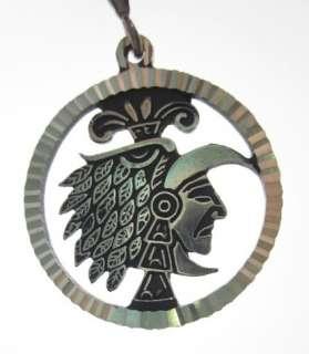 DESIGNER Sterling Silver Aztec Round Pendant Charm
