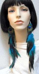 XLong Peacock Eye & Blue Rooster Schlappen Earrings