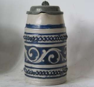 Early German Westerwald Stoneware Beer Stein Walzenkrug c.1750s