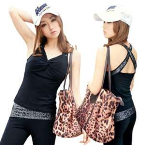 SM HOT POWER YOGA GYM leopard trim tank top&capri pant