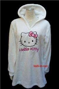 HELLO KITTY CAT FACE PLUSH Fleece Long Hoodie Lounge Dress Top w Hood
