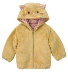 Gymboree Glamour Kitty Kitten Cat Face Hooded Soft Faux Fur Coat 6 12