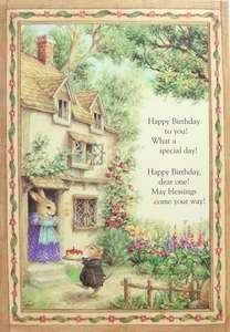 Holly Pond Hill Mouse Rabbit Birthday Cake Cottage Greeting Card Susan