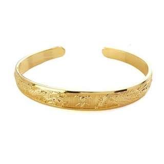 dragon&phoenix pattern oval shaped 18k yellow gold filled bracelet