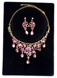 Pink Flower Rhinestone&Gold Plated Necklace&Earring set