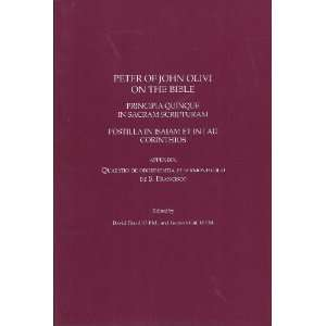 Peter of John Olivi on the Bible David Flood Books