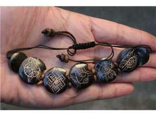 Vintage Tibetan Carved 8 Auspicious Symbol Yak Bone 5 Slip Bracelet