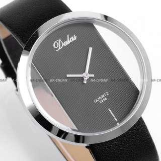 2011 New PU Leather Transparent Alloy Quartz Lady Girl Wrist Watch