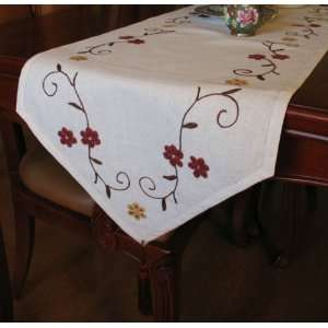 Hand Woollen Embroided Flowers vine Table runnerC