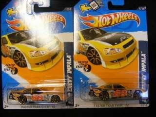 2012 Hot Wheels #91 2010 Chevy Impala Stock Car lot of 2 Yellow