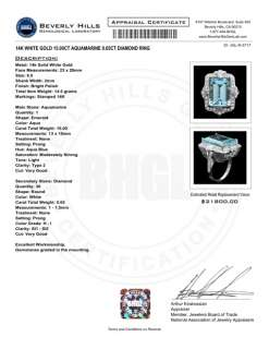 21800 CERTIFIED 14K WHITE GOLD 15CT AQUAMARINE 0.65CT DIAMOND RING