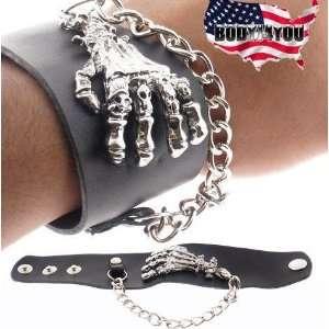 Bone Hand Gothic Punk Rave Leather Bracelet Wristband