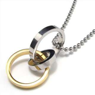 Men Women Stainless Steel Three Rings Pendant Necklace