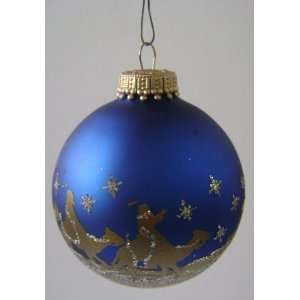 Three Wise Men Spherical Christmas Glass Ornament   Blue