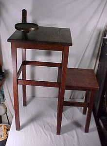 ANTIQUE STICKLEY BROTHERS 2585 TELEPHONE STAND & BENCH