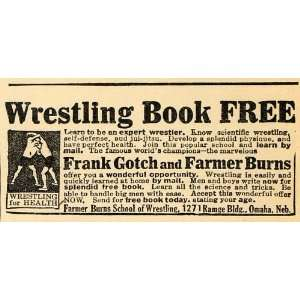 Frank Gotch Wrestling School Book   Original Print Ad
