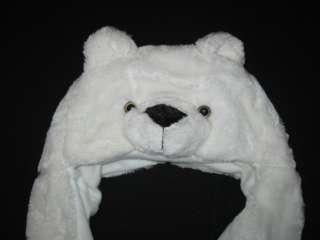 NEW POLAR BEAR Girls Boys Winter Hat Ear Flap Animal Critter Scarf w