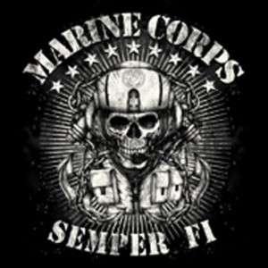 Marine Corps MENS BIKER T SHIRT Skull SEMPER FI