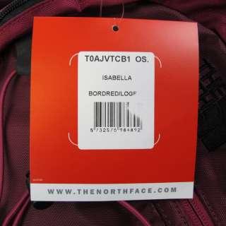 NEW North Face Womens Rucksack Backpack Bag   Isabella   Burgundy