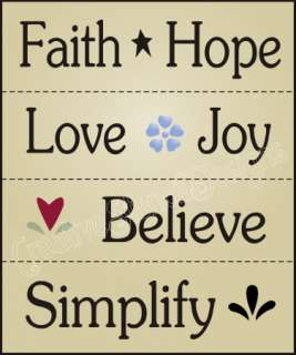New Stencil #W42 ~ LOT of (4) Stencils, Faith Hope Love Joy Believe