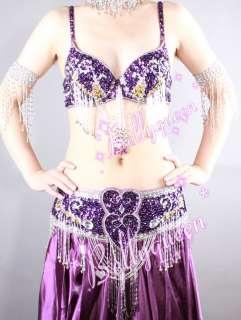 Belly Dance Costume 3Pics Bra&Belt Skirt Purple #C817