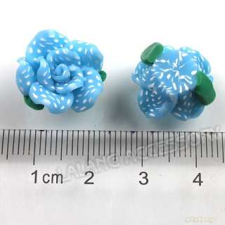 35x 110462+ Sky Blue Rose Flower Dots Charm Flatback Polymer Clay