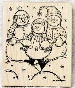 Northwoods rubber stamp Christmas Snowman Trio Snowball