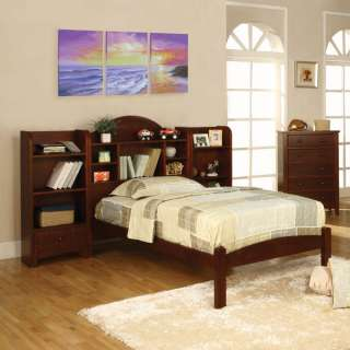 Solid Wood Cherry Finish Bed Frame Set w/ Bookcase Headboard