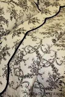 FLORAL TOILE DE JOUY BLACK & WHITE FRENCH COUNTRY QUEEN QUILT SET 100%